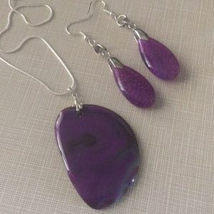 Jewelry - SS925 Purple Agate  pendant and dragon veins set